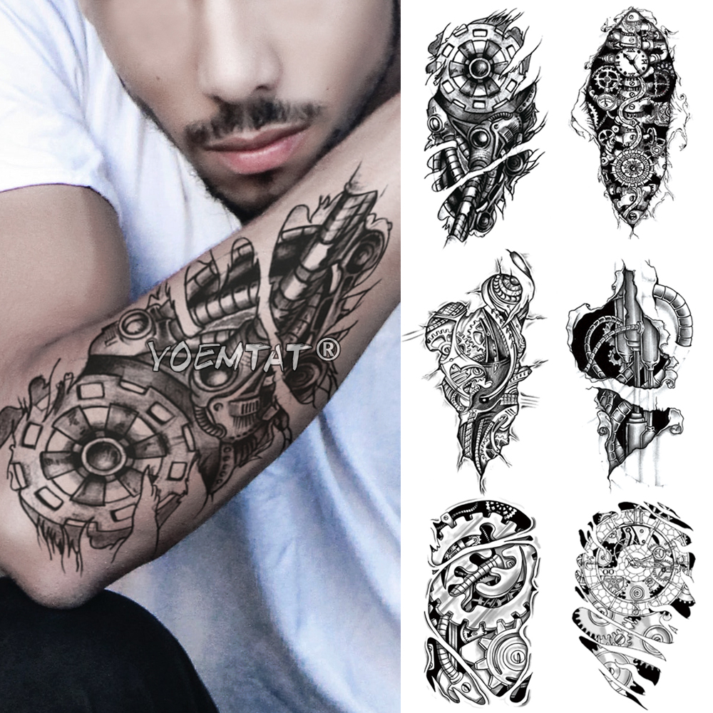 Metal Mecanique Engrenage Bras Temporaire Tatouage Autocollant Electricite 3d Bionique Etanche Tatto Robot Art Corporel Faux Tatoo Hommes Femmes Aliexpress