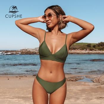 CUPSHE Army Green Solid Bikini Set Women Triangle Sexy Two Pieces Swimwear 2021 New Girl Plain Beach Bathing Suit Swimsuits 1