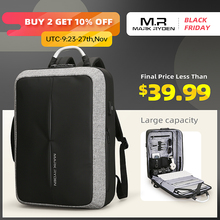 Mark Rydenใหม่Anti thief USBชาร์จผู้ชายกระเป๋าเป้สะพายหลังไม่มีTSA LOCK Designผู้ชายแฟชั่นข้อความกระเป๋าเป้สะพายหลังTRAVEL
