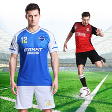 2019 blank custom Adult Survement Short Sleeve Football Kit more choices Men running Training Uniforms Tracksuit set with shorts(China)