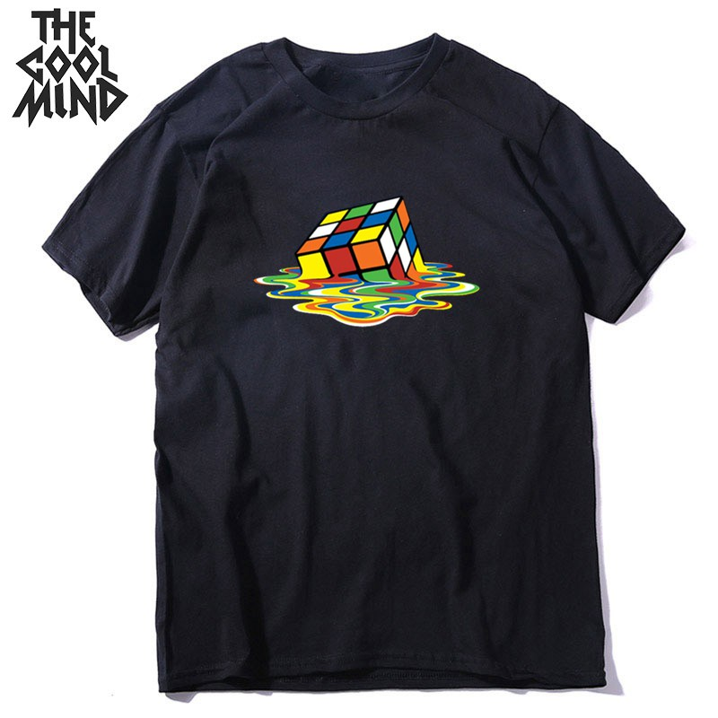 COOLMIND 100% Cotton Short Sleeve Melting Magic Cube Print Men T Shirt Loose Streetwear Hiphop Men Tshirt Male Tops Tee Shirts
