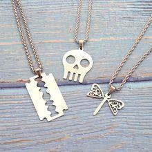 Fahion Silver Tone Skeleton Skull Head Blade Butterfly Women Men Pendant Dainty Stainless Steel Chain Necklace Jewelry Gift 2019