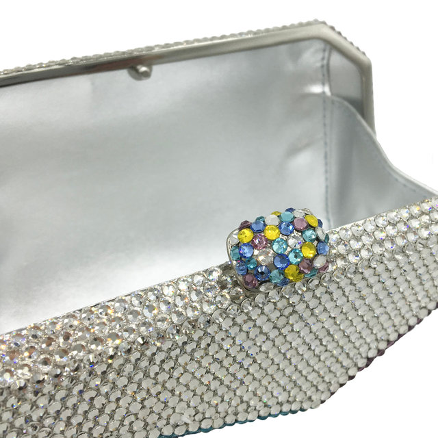Multicolored Geometric Pattern Crystal Evening Clutch  5
