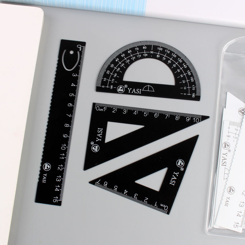 Simple INS-Style Iron And Steel Ruler Sets Bookmark Design Students Exam Metal Ruler + Protractor + Set Square 4 Pieces In A Set