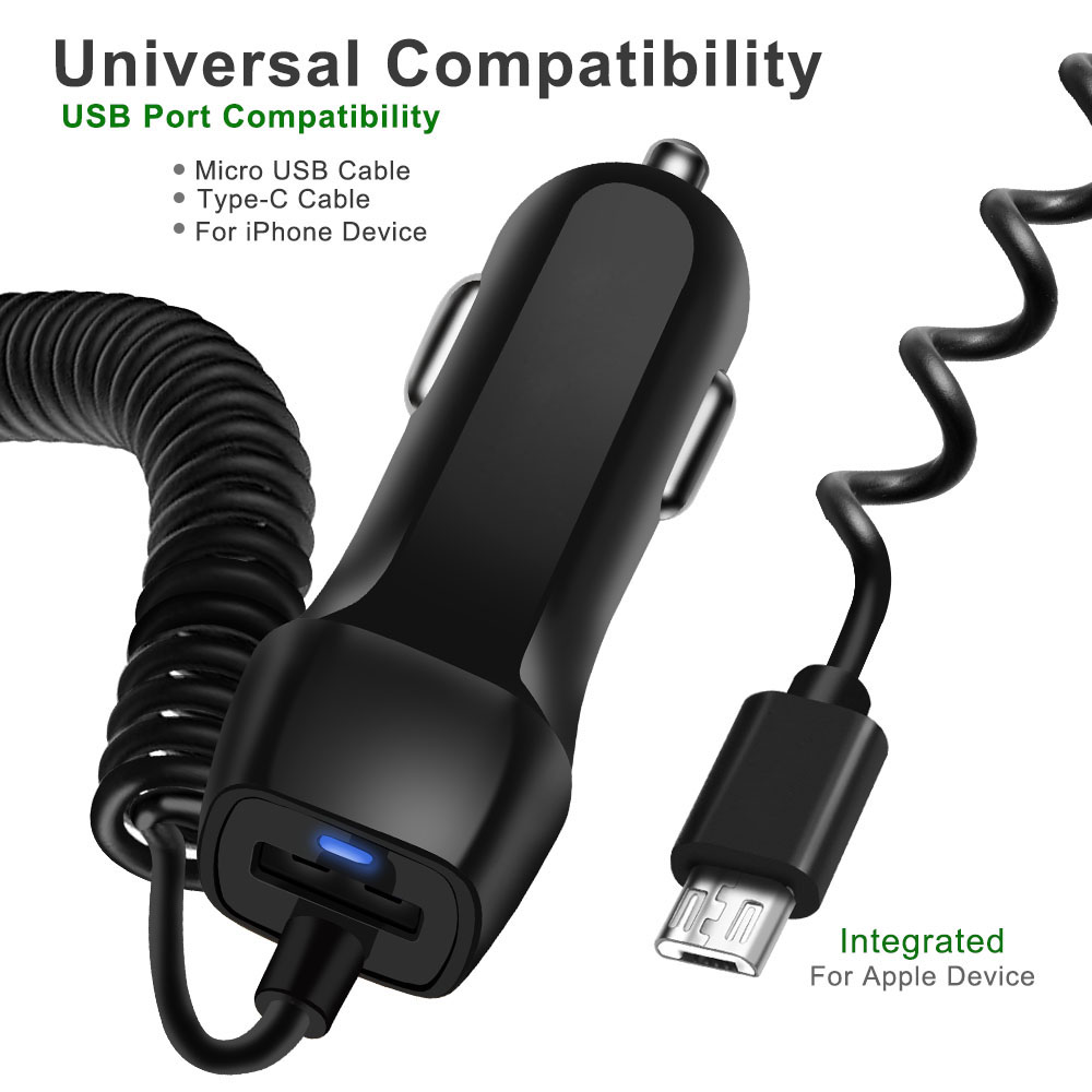 Car Charger With USB Cable Mobile Phone Charger For iphone 11 7 Samsung S10 Xiaomi Micro USB Type C Cable Fast Car Phone Charger Pakistan