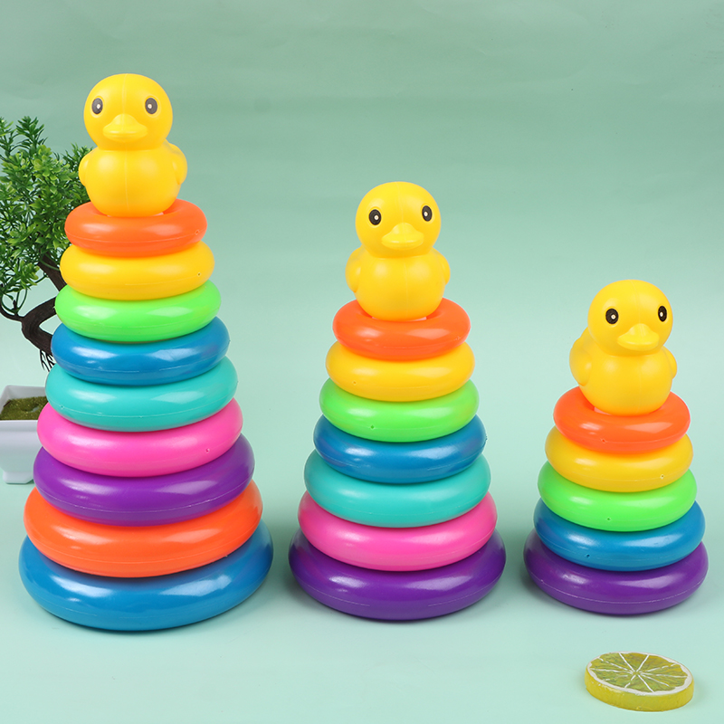 Baby Early Childhood Education Puzzle Ring Toy Kids Toys Children's Little Yellow Duck Jenga Rainbow Tower Stacking Circle