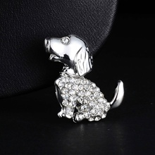 RINHOO Vintage Rhinestone Silver Plated Gold Cute Puppy Animal Pet Brooch for Women Badge Christmas Jewelry Gifts
