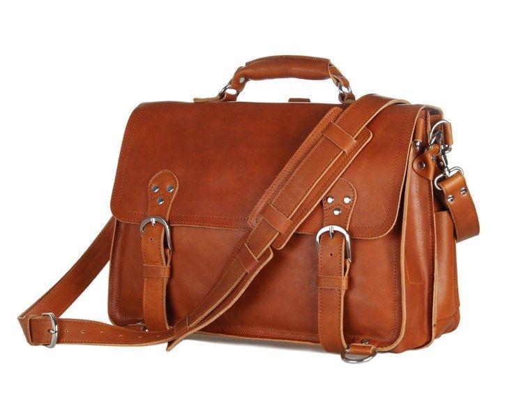 Nesitu Highend Vintage Brown Thick Genuine Leather Office Men Briefcase Portfolio 14'' Laptop Men Shoulder Messenger Bag M7161