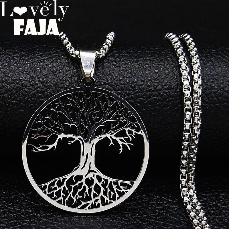 2019 collar de declaración de acero inoxidable Árbol de la vida para hombres collar de declaración de Color plata joyería cadenas para hombre N19721