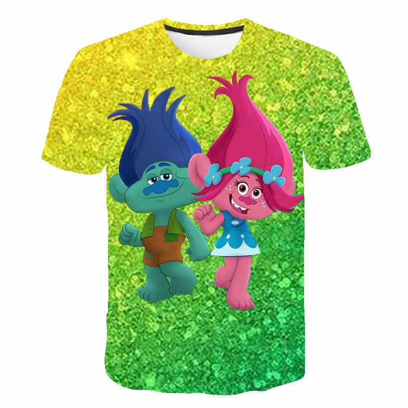 Meisjes Jongens Kleding 4-14years Zomer Korte Mouw 3D Cartoon Gedrukt Film Trolls World Tour T-shirt Voor Kids Kinderen tops