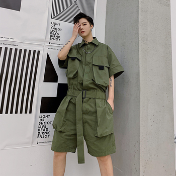 Male Streetwear Hip Hop Overalls Jumpsuit Harem Trousers Men Summer Short Sleeve Casual A Piece Jumpsuit Cargo Pant