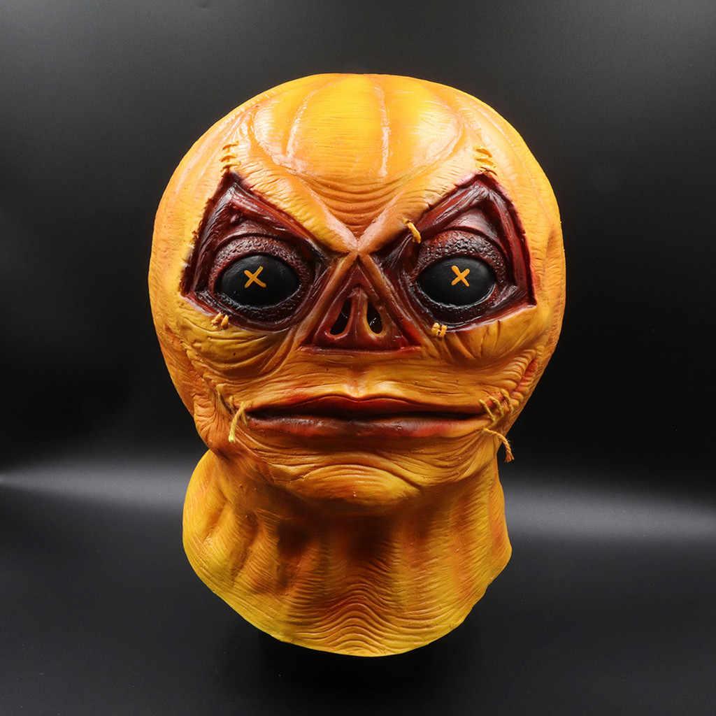 Хэллоуин страшный рейв маска аксессуары жабо оранжевый стиль плавления лица взрослых латексный костюм маска Пром реквизит Бесплатная доставка #3