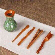 5 шт./компл. натуральная деревянная чайная посуда чайная церемония набор посуды бамбуковые чайные ложки игла для чая Пинцет клип ситечко Тонг трубка