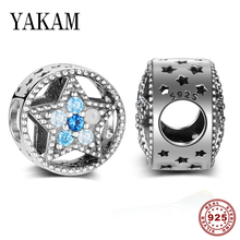 Fit original pandora bracelet charm star 925 sterling silver bead starry sky blue CZ crystal beads for women jewelry accessories