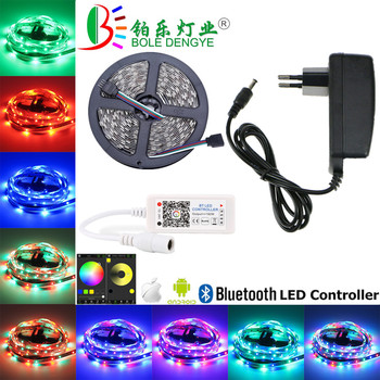 5M SMD 5050 LED Strip With Bluetooth LED Controller DC 12V Non waterproof RGB LED Tape Ribbon For Home Holiday Decoration