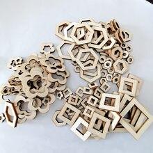 Tranches de bois ornements, 100 pièces, hexagone carré en forme de fleur, dalles de bois, décoration artisanale DIY