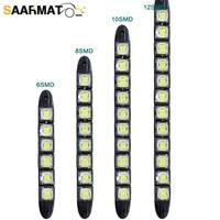 Luz LED de día para coche, barra antiniebla delantera Flexible, bombilla de luz diurna externa, chips smd 6-12, accesorios para coche, DRL blanco