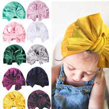 Autumn Winter Baby Velvet Big Bow Turban Hat Indian Hat Photography Props for Kids Girls Beanie Cap Baby Hairband Accessories(China)