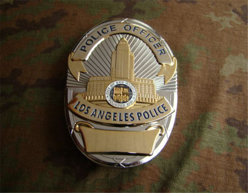 United States LA Los Angeles Cosplay Badge Copper LAPD Shirt Lapel Badge Brooch Pin Badge 1:1 Gift Cosplay