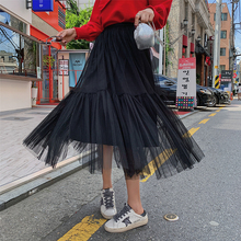 2019 Ins Hot Long Tulle Skirt Green Colors Mesh Patchwork Bubble Pleated Elegant High Steet Women Expansion