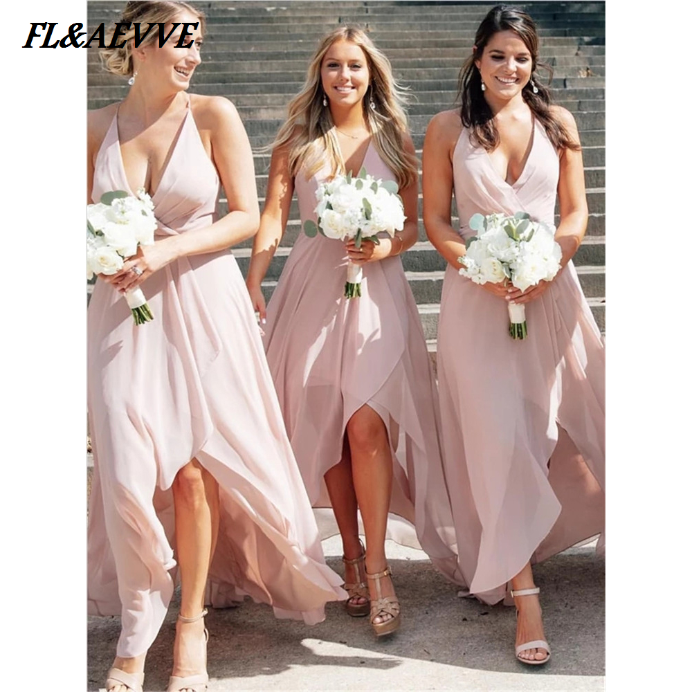 Wholesale Price High Low Bridesmaid Dresses A Line V Neck Chiffon Lace Up Back Tea Length Dress For Wedding Party