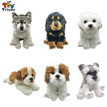 Wolf Maltese Husky Puppy Labrador Saint Bernard Pomeranian Schnauzer Bichon Tibetan Mastiff German Shepherd Dog Plush Toys tibetan mastiff made in u k artistic style dog zip pull collection