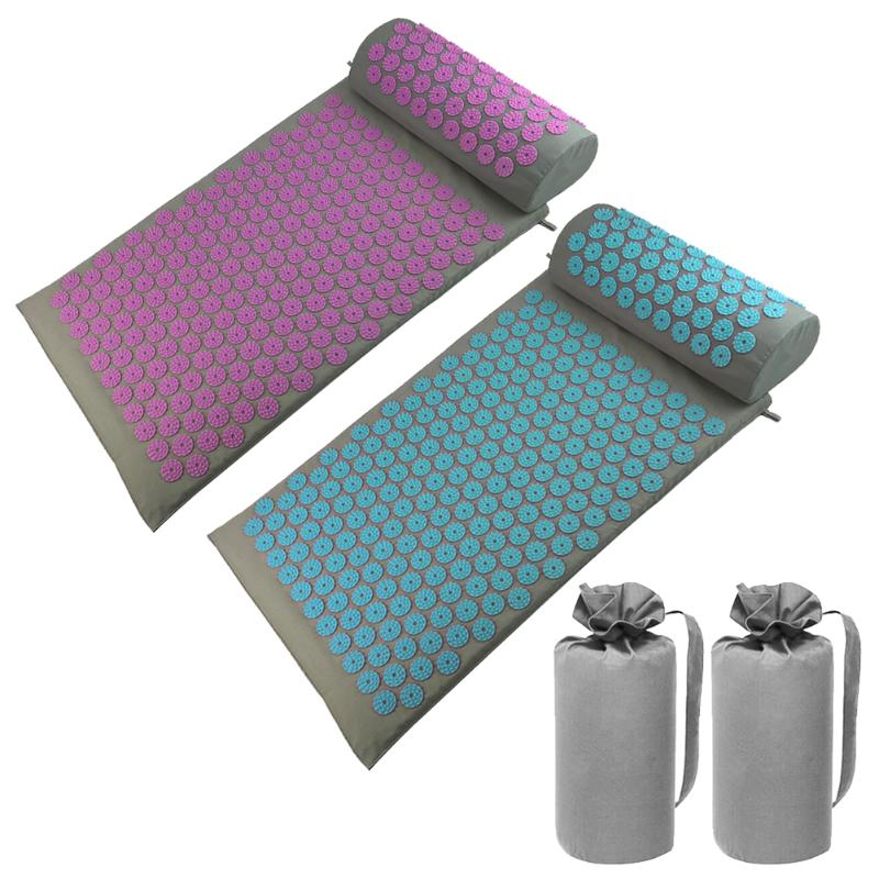 Yoga Massage Cushion Mat Acupuncture Yoga Relieve Body Pain Stress Massage Spike Mat+Pillow With Bag Health Care