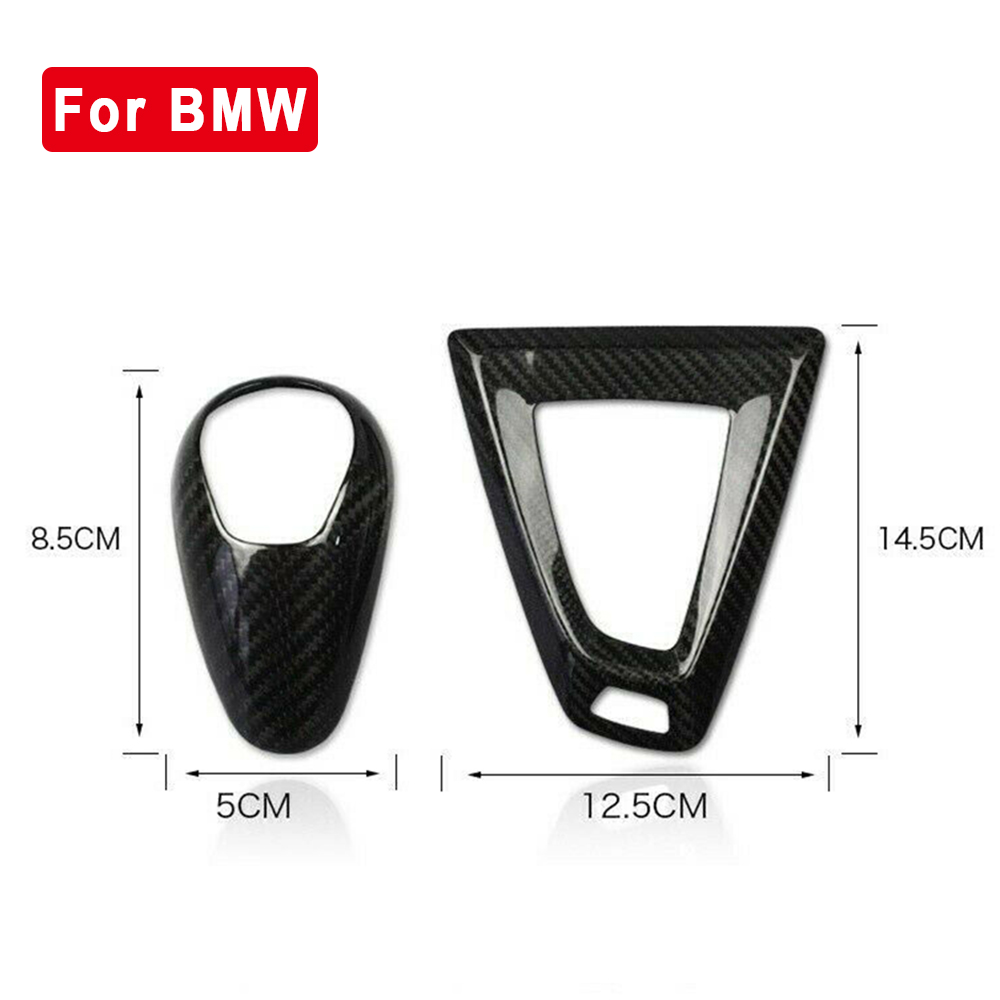 Carbon Fiber Car Gear Shift Knob Cap &Base Cover Trim sticker black for BMW M3 F80 M4 F82 F83 car Gear Shift Knob Cover decor