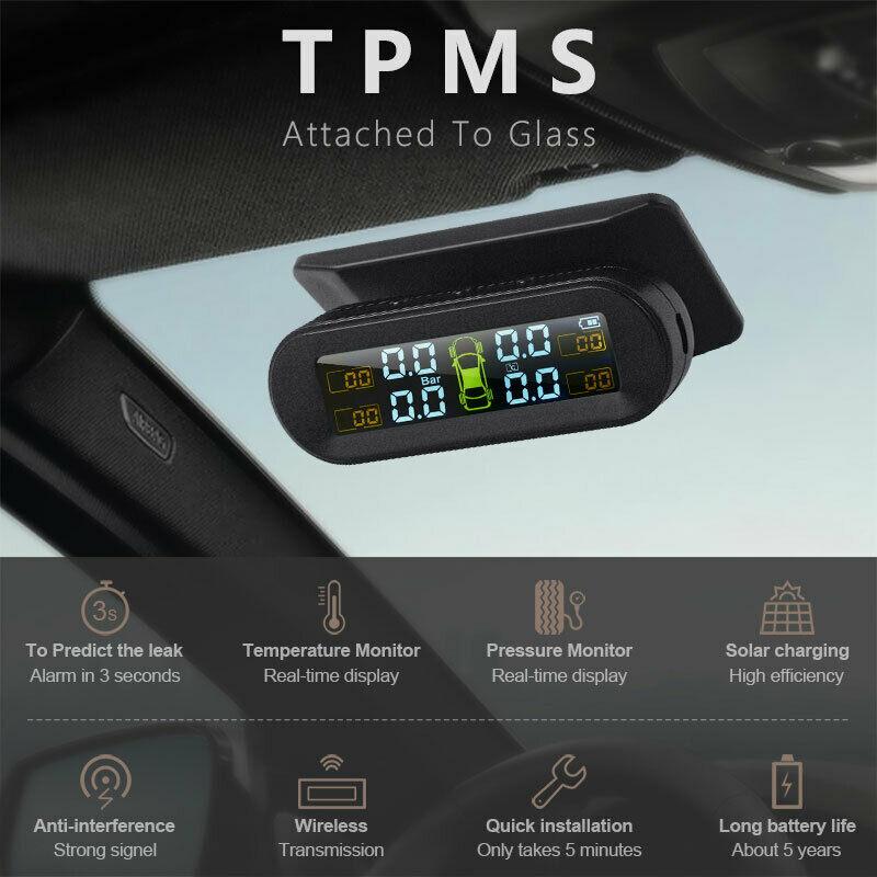 USB Solar Lade Auto TPMS Tire Pressure Monitoring System HD Digital LCD Display Auto Alarm werkzeug Drahtlose 4 externe Sensor