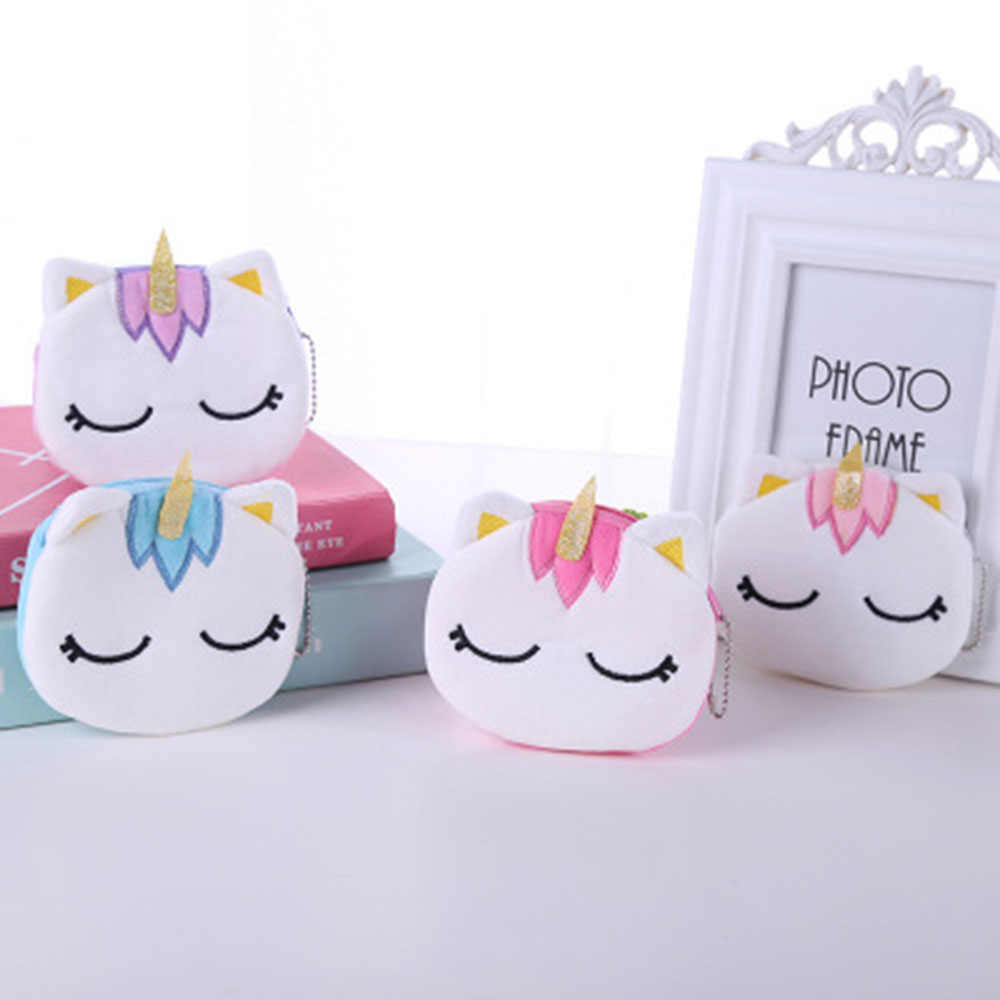 5 Colors Hot On Sale Kawaii Cartoon Unicorn Children Plush Coin Purse Zipper Change Purse Mini Wallet Kids Girl Women For Gift