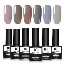 NEE JOLIE 8ml Black White Gray Series  Color Gel Polish 20 Colors Soak Off UV Varnish One-shot Nail Art