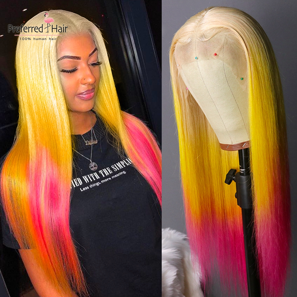 Preferred Straight Colorful Human Hair Wig Pink Ombre Lace Front Wig Brazilian Remy Pre Plucked Transparent Lace Wigs For Women