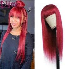 Parrucche per capelli umani rossi 99J/borgogna con frangia parrucche brasiliane per capelli lisci per donne nere parrucche piene Non Remy fatte a macchina IJOY