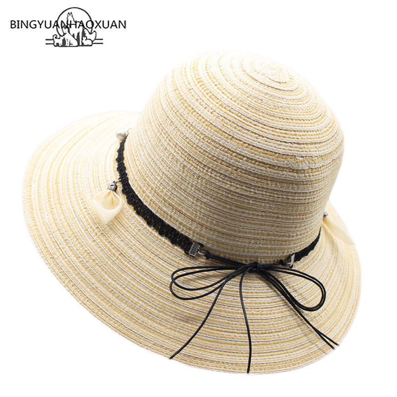 BINGYUANHAOXUAN Womens UPF 50 Straw Sun Hat Floppy Wide Brim Fashion Beach Accessories Packable & Adjustable