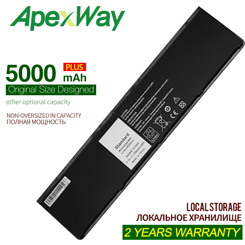 ApexWay 7.4V 5000mAh Laptop Battery For Dell Latitude WD52H KWFFN J31N7 GVD76 HJ8KP 0WD52H 0KWFFN PT1 12 7000 E7250 E7240 E7440