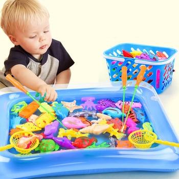 Copii 14buc / set de pescuit magnetic părinte-copil jucării interactive joc copii 1 lansetă 1 plasă 12 3D pește jucărie în aer liber