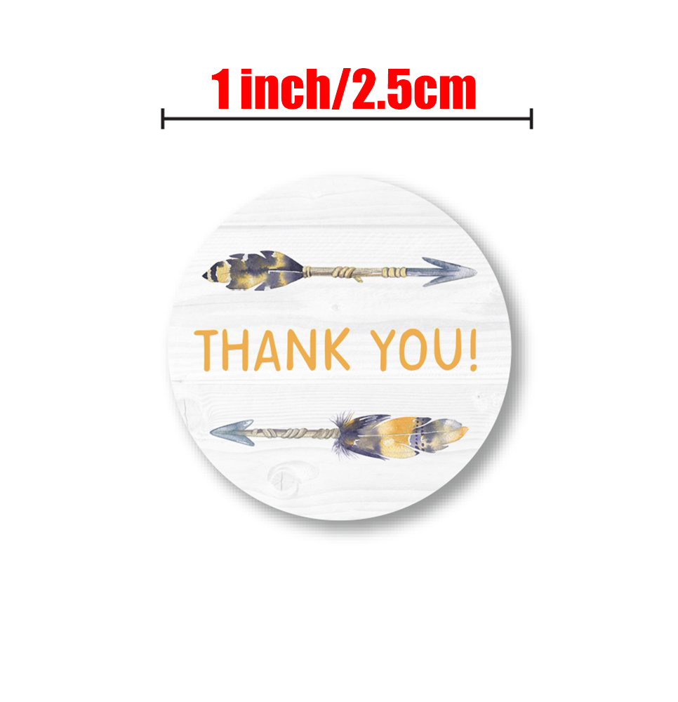 1 inch round feather thank you stickers scrapbook gift packaging party decoration sealing label children stationery stickers
