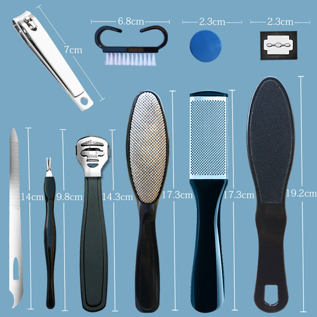 10 in 1 Professional Foot Care Kit Pedicure Tools Set Stainless Steel Foot Rasp Foot Dead Skin Remover Clean Toenail Care Kit 2