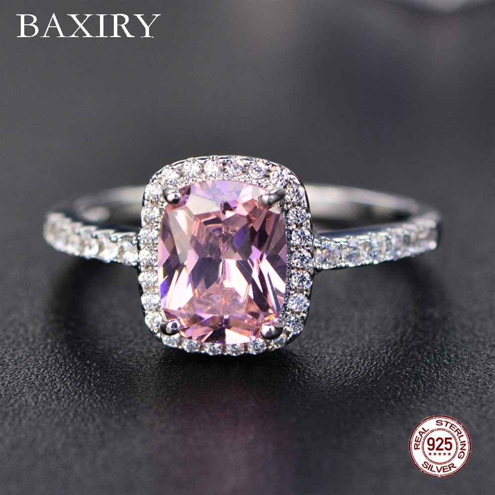 2019 New Fine Natural Ruby Ring 925 Sterling Silver Rings Engagement Gemstone Ring Silver Pink Quartz Ring For Women Jewelry