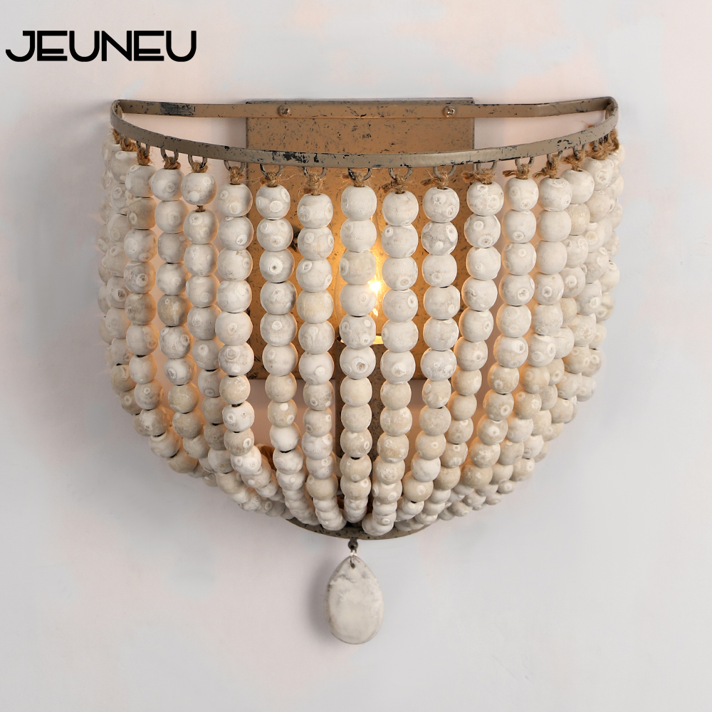 European Retro Wall Lamp LED E14 Wooden Beads Wall Lights Bedroom Bedside Cafe Makeup Room Personality Decorative Lighting