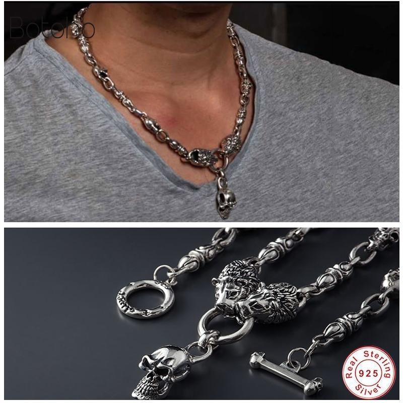 Ожерелье со львом, серебряная цепочка и кулон с черепом, 100% Стерлинговое Серебро 925 пробы, ожерелье с подвеской для женщин и мужчин, хорошее ювелирное изделие, горячая распродажа