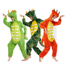 Kigurumi Christmas flannel dinosaur men/women Triceratops cartoon print animal one piece pajamas Halloween winter sleepwear 2019