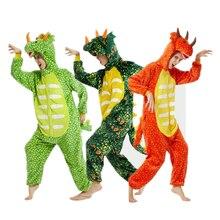 Kigurumi flanelowe na święta bożego narodzenia dinozaur mężczyźni/kobiety Triceratops nadruk kreskówkowy zwierząt jednoczęściowy piżamy Halloween zima bielizna nocna 2019