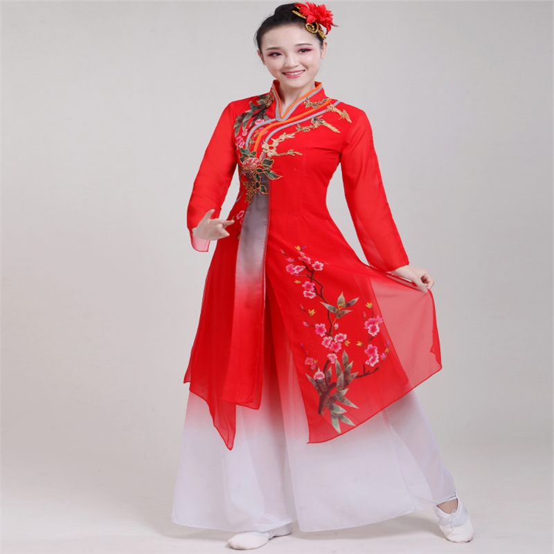 Brand Hot New Ladies Classical Dance Costumes Ladies Chinese Style Folk Dance Songs Plum Blossoms Fan Dance Costume image