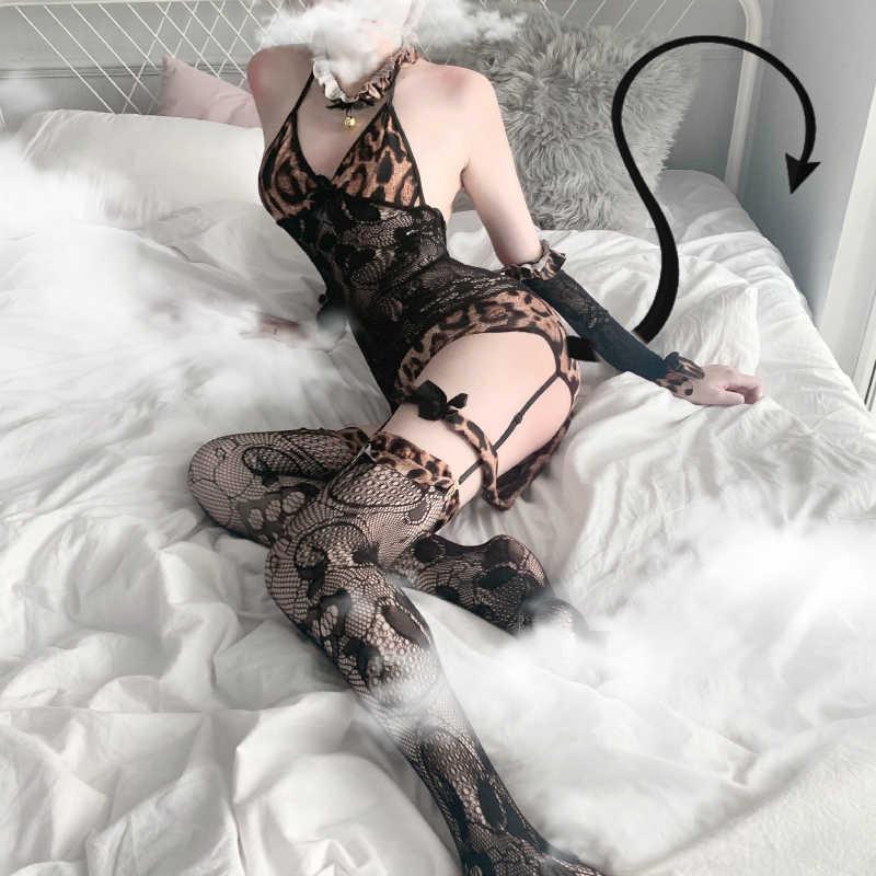 Nieuwe 5 Stuks Set Cos Vrouwen Cosplay Wild Dier Halloween Kostuum Night Club Kat Sexy Luipaard Wild Jumpsuit Verleidelijke lingerie