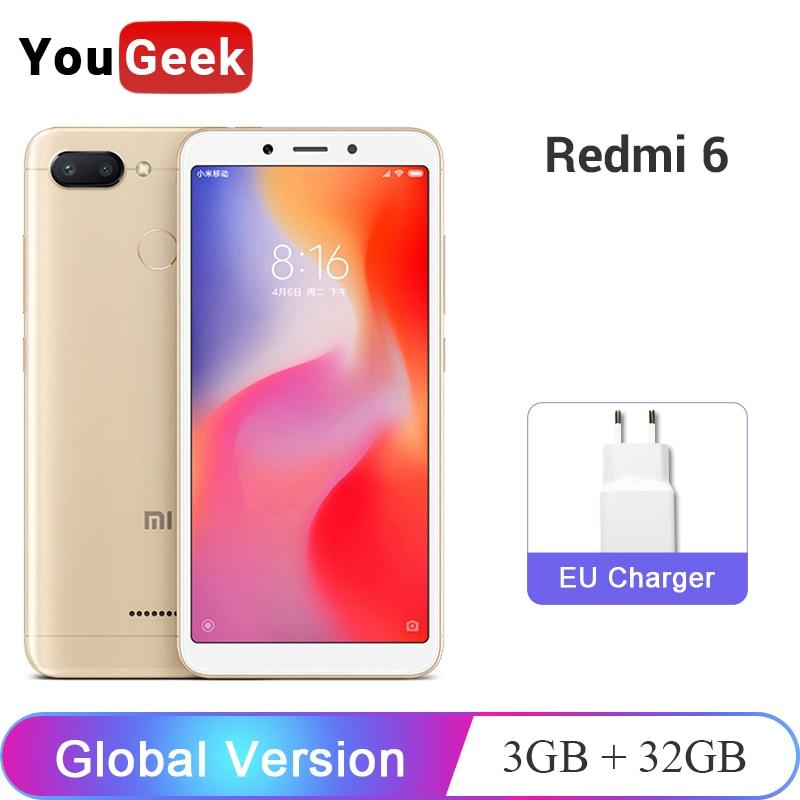 Global Version Original Xiaomi Redmi 6 Redmi6 3GB 32GB Smartphone Helio P22 Octa Core 12MP+5MP Dual Cameras 5.45