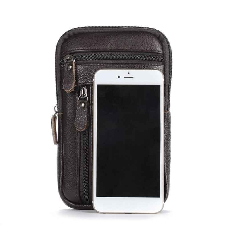 Fashion Mini Lederen Telefoon Houder Riem Schoudertas Mannelijke Toevallige Reizen Kleine Crossbody Taille Messenger Handtas
