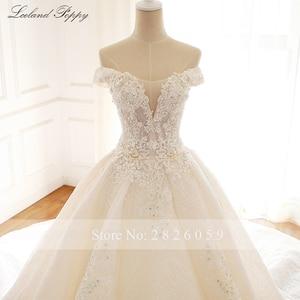 Image 4 - Lceland Poppy Luxury Off the Shoulder A line Wedding Dresses 2020 Sleeveless Vestido de Novia Beaded Bridal Gowns with Flowers