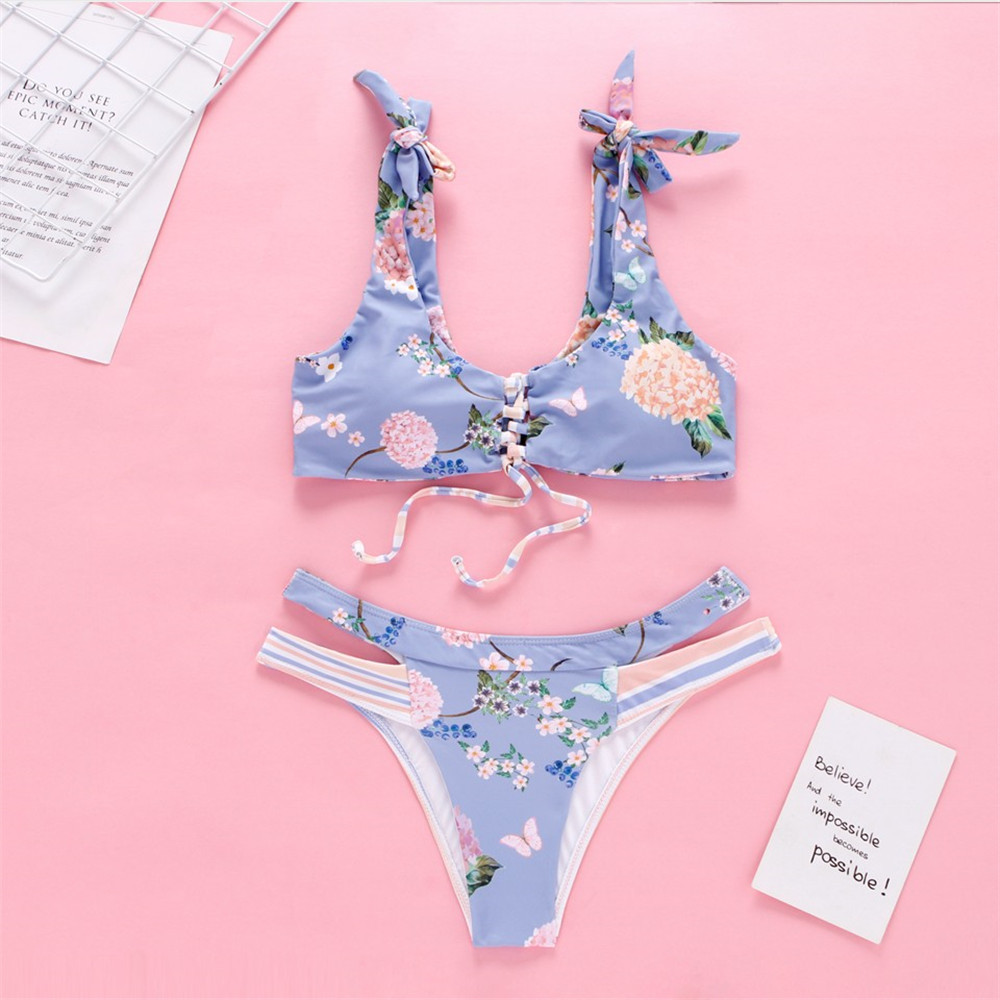 Sexy Floral Bikini Push Up 2020 Cross Bandage Swimsuit Hollow Out Print String Swimwear Bow Bathing Suit Biquini High Cut