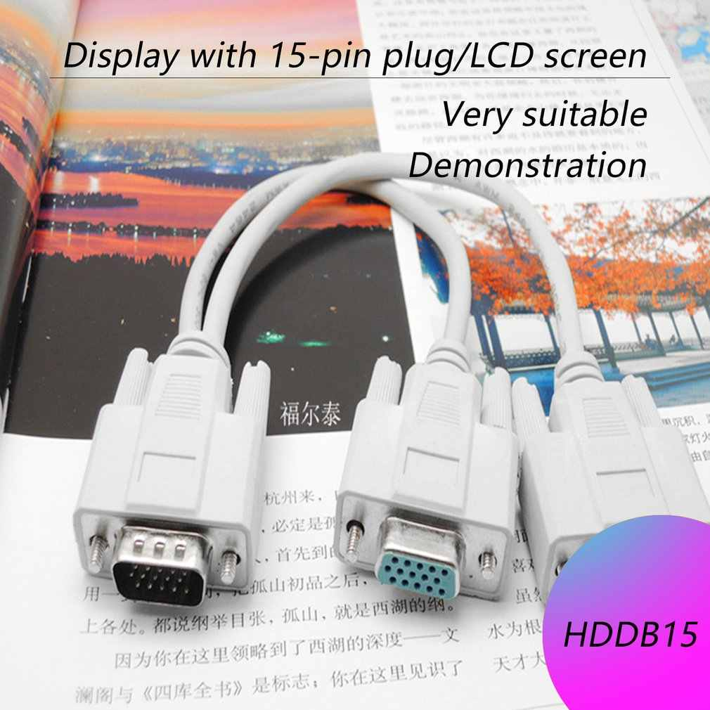 Новейший 1 мужской VGA до 2 Женский разветвитель для кабеля VGA 2 Way мониторы VGA и SVGA Двойной видео Графический ЖК TFT Y сплиттер кабель